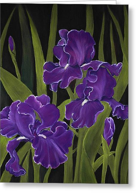 Blue Flowers Pastels Greeting Cards - Irises Greeting Card by Anastasiya Malakhova