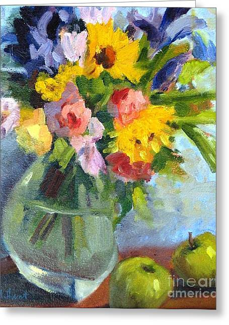 Glass Vase Greeting Cards - Irises and Apples Greeting Card by Maria Hunt
