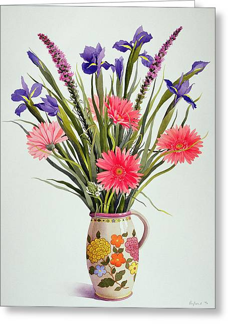Flower Arranging Greeting Cards - Irises and Berbera in a Dutch Jug Greeting Card by Christopher Ryland