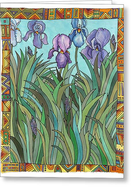 Organic Tapestries - Textiles Greeting Cards - Irises Greeting Card by  Carol Racklin-Siegel