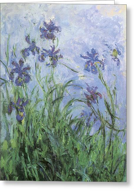 Purple Flowers Greeting Cards - Irises Greeting Card by Claude Monet