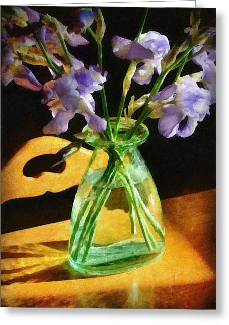 Tabletop Digital Art Greeting Cards - Irises in Morning Light Greeting Card by Michelle Calkins
