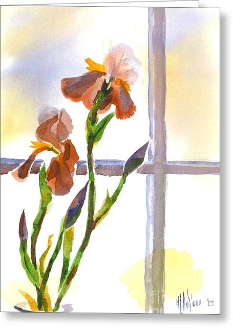Kipdevore Greeting Cards - Irises in the Window Greeting Card by Kip DeVore