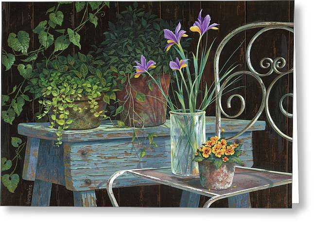 Still Life Greeting Cards - Irises Greeting Card by Michael Humphries