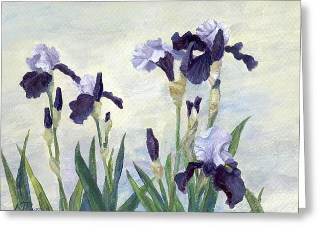 K Joann Russell Greeting Cards - Irises Purple Flowers Painting Floral K. Joann Russell                                           Greeting Card by K Joann Russell