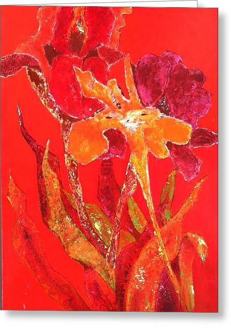 Oranage Greeting Cards - Irises Vermillon Greeting Card by Elizabeth  Bogard