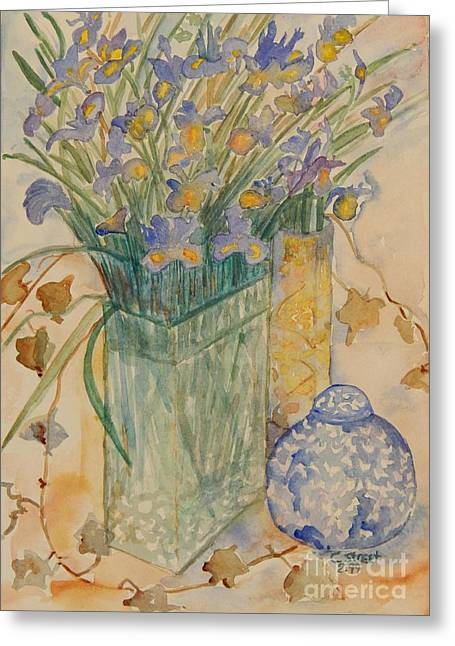 Caddy Paintings Greeting Cards - Irises with Chinese Pot Greeting Card by Caroline Street