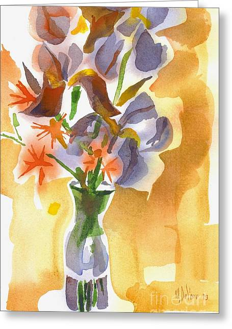 Indoor Still Life Paintings Greeting Cards - Irises with Stars of Bethlehem Greeting Card by Kip DeVore