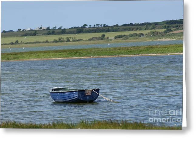 Ladys Island Greeting Cards - Irish Blue Boat 1 Greeting Card by Carol Lynch