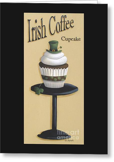 Irish Coffee Cupcake Greeting Card by Catherine Holman