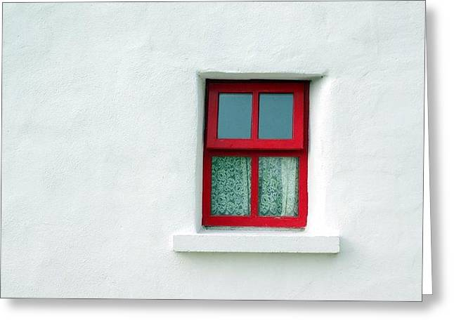 Third-oldest Greeting Cards - Irish cottage red window Greeting Card by Patrick Dinneen