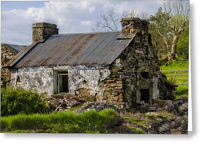 Famine Greeting Cards - Irish Cottage Ruins Greeting Card by Bill Cannon