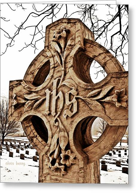 Headstones Greeting Cards - Irish Cross Greeting Card by Chris Berry