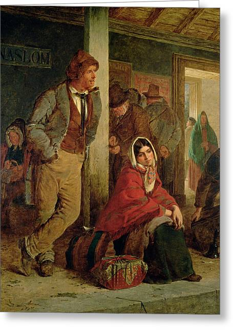 Stations Greeting Cards - Irish Emigrants Waiting For A Train Greeting Card by Erskine Nicol