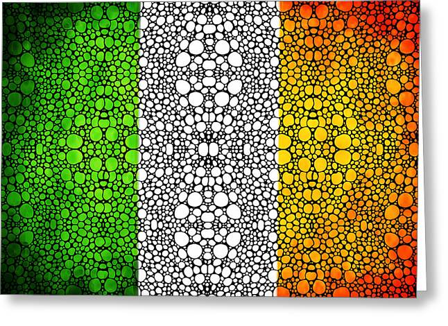 Country Framed Prints Greeting Cards - Irish Flag - Ireland Stone Rockd Art By Sharon Cummings Greeting Card by Sharon Cummings
