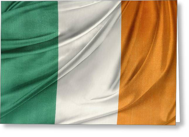 Shiny Fabric Greeting Cards - Irish flag Greeting Card by Les Cunliffe