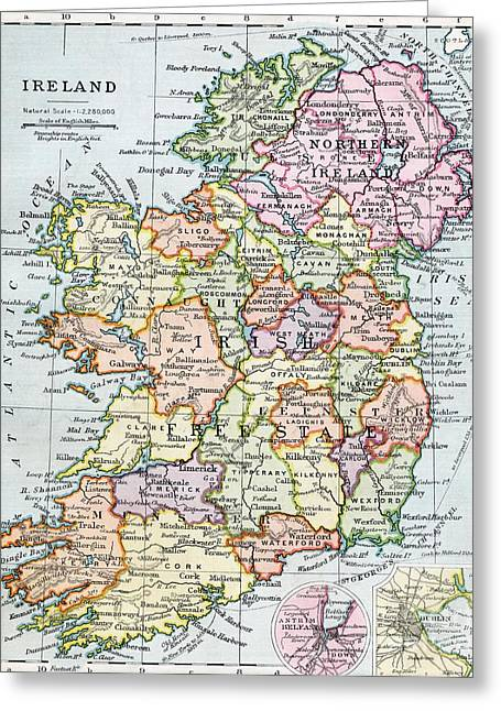 Places Greeting Cards - Irish Free State and Northern Ireland from Bacon s Excelsior Atlas of the World Greeting Card by English School