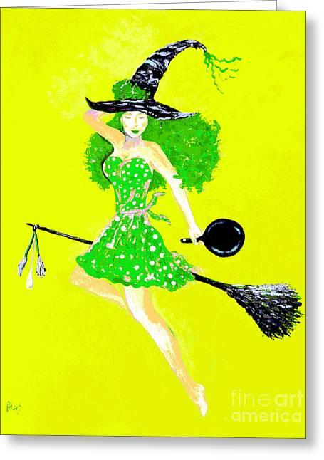 Irish Kitchen Witch Greeting Card by Alys Caviness-Gober