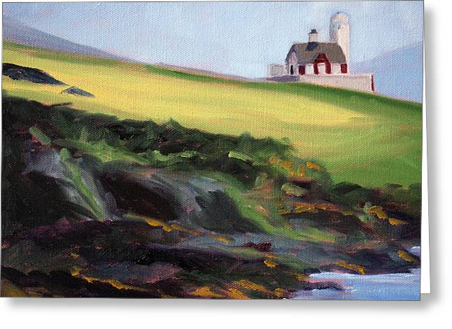 Nature Scene Paintings Greeting Cards - Irish Lighthouse Greeting Card by Nancy Merkle