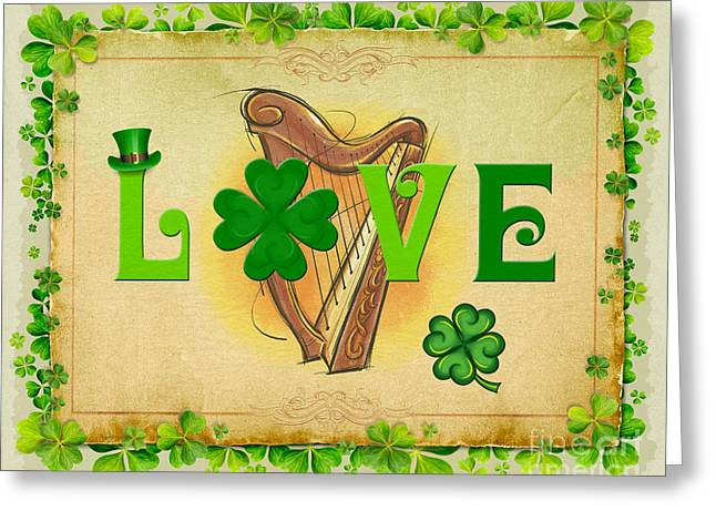 Green Day Greeting Cards - Irish Love Greeting Card by Bedros Awak