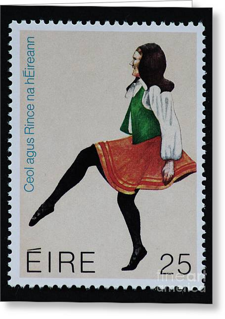 Irish Folk Music Greeting Cards - Irish Music and Dance Postage Stamp Print Greeting Card by Andy Prendy