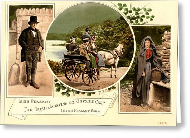 Irish Peasants And A Jaunting Car Greeting Card by Vintage Image