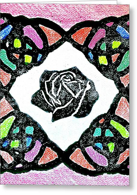 Linocut Paintings Greeting Cards - Irish Rose Greeting Card by Marita McVeigh