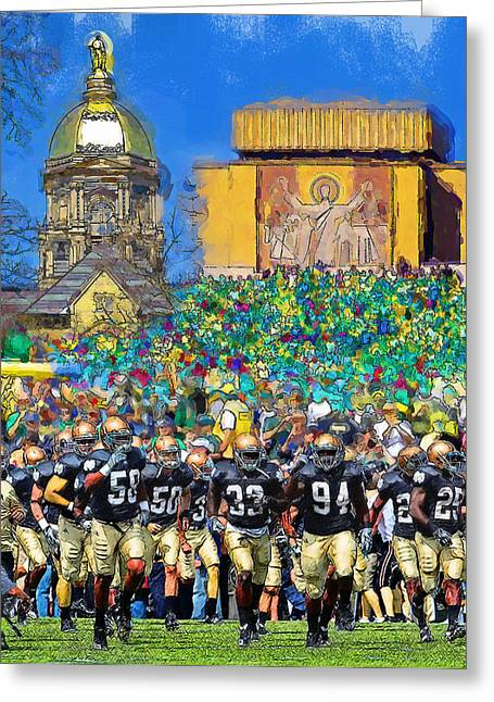 University Of Notre Dame Greeting Cards - Irish Run to Victory Greeting Card by John Farr