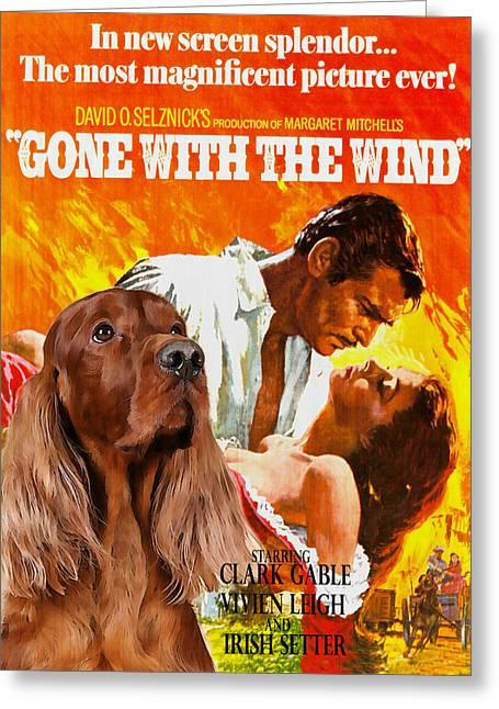 Irish Setter Greeting Cards - Irish Setter Art Canvas Print - Gone to the Wind Movie Poster Greeting Card by Sandra Sij