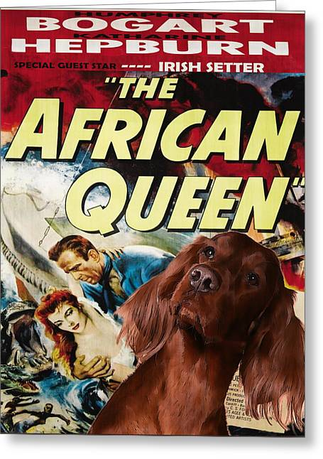 Irish Setter Greeting Cards - Irish Setter Art Canvas Print - The African Queen Movie Poster Greeting Card by Sandra Sij