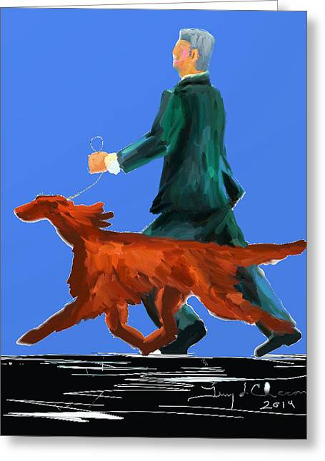 Terry Chacon Greeting Cards - Irish Setter Greeting Card by Terry  Chacon