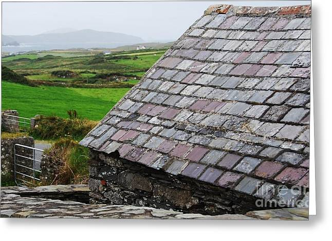 Distance Framed Prints Greeting Cards - Irish Slate Roof Greeting Card by Marcus Dagan