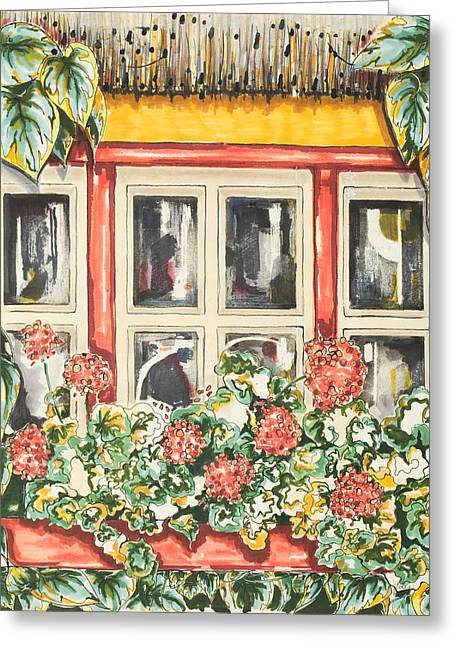 Flower Boxes Drawings Greeting Cards - Irish Window Greeting Card by Robin Hicks