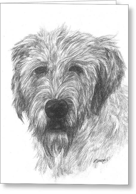 Puppies Drawings Greeting Cards - Irish wolfhound Greeting Card by Meagan  Visser