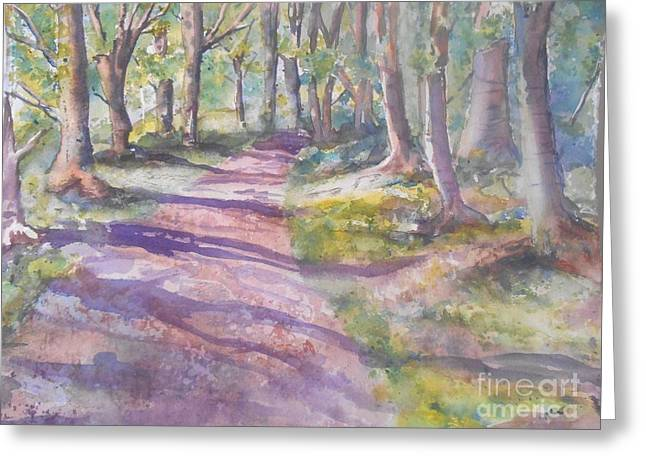 Woodland Scenes Paintings Greeting Cards - Irish woods Greeting Card by Patricia Pushaw