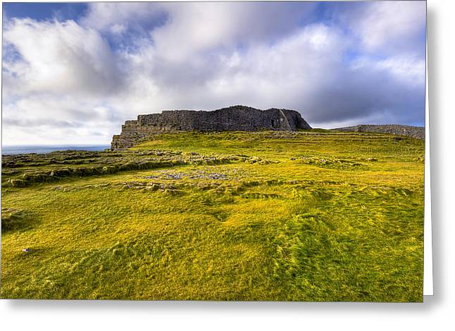 Iron Age Ruins Of Dun Aengus On The Irish Coast Greeting Card by Mark E Tisdale