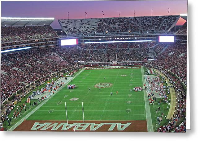 Bryant Denny Stadium Greeting Cards - Iron Bowl Sunset Greeting Card by Gretchen  Friedrich