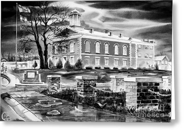 Valley Girl Greeting Cards - Iron County Courthouse III - BW Greeting Card by Kip DeVore