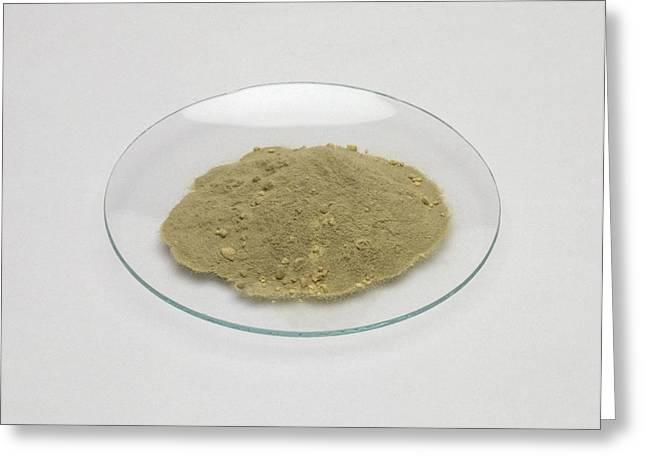 Iron Filings And Sulphur Powder On Glass Greeting Card by Dorling Kindersley/uig