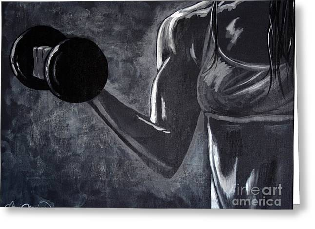 Bodybuilding Greeting Cards - Iron Girl Greeting Card by Danise Abbott