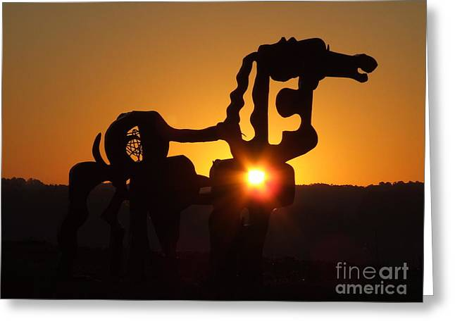 Sun Spots Greeting Cards - Iron Horse Heart Warming Greeting Card by Reid Callaway