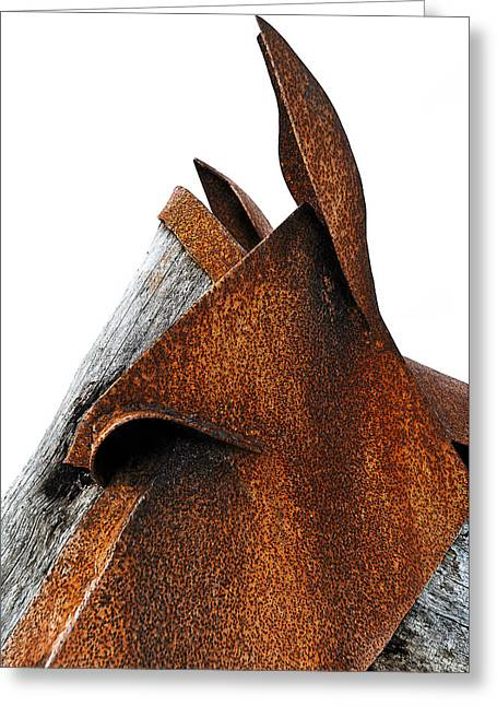 Sculpture Photographs Greeting Cards - Iron Horse Greeting Card by Rick Mosher