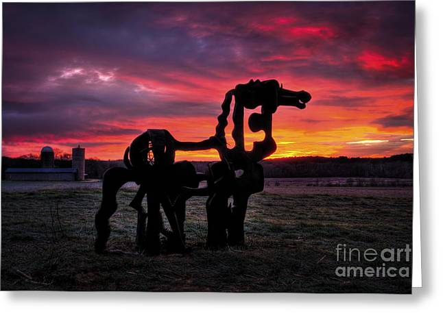 Georgia University Greeting Cards - Iron Horse Sun Up Greeting Card by Reid Callaway