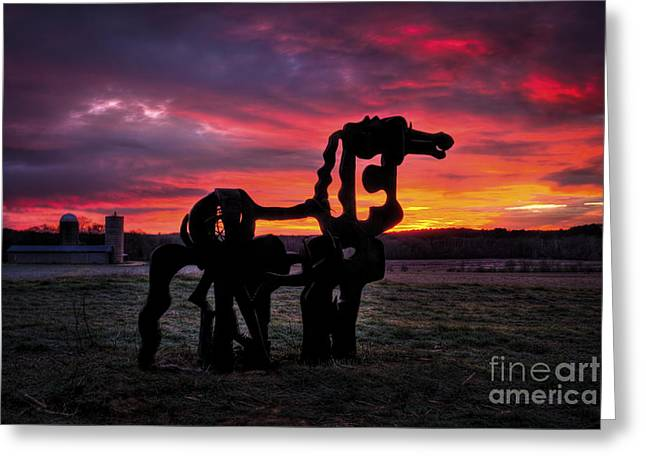 Horse Barn Greeting Cards - Iron Horse Sun Up Greeting Card by Reid Callaway