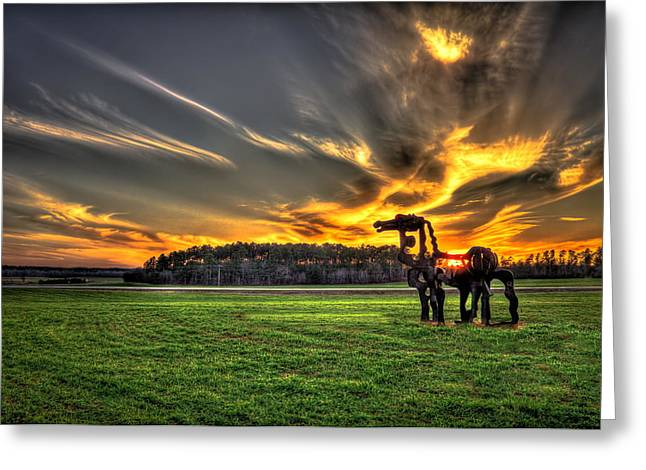Southern Homes Greeting Cards - The Iron Horse Sunset Greeting Card by Reid Callaway