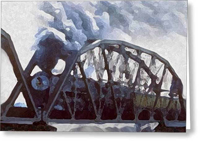Breathing Mixed Media Greeting Cards - Iron Horses And Iron Bridges Greeting Card by Dennis Buckman