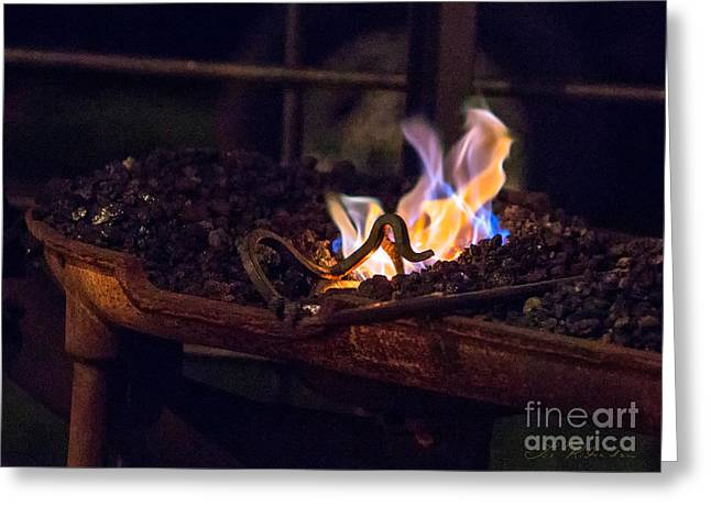 Hot Iron Greeting Cards - Iron in fire Greeting Card by Iris Richardson