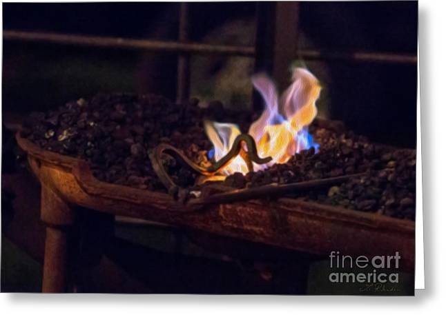 Hot Iron Greeting Cards - Iron in fire Oiltreatment Greeting Card by Iris Richardson