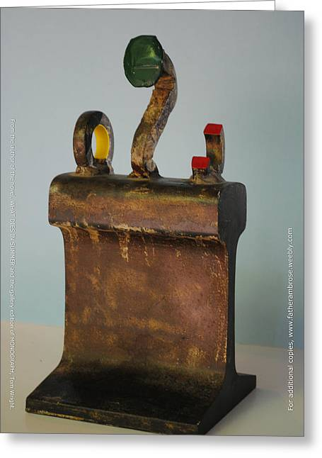 Iron Sculptures Greeting Cards - Iron John Henry I Greeting Card by Tom Wright