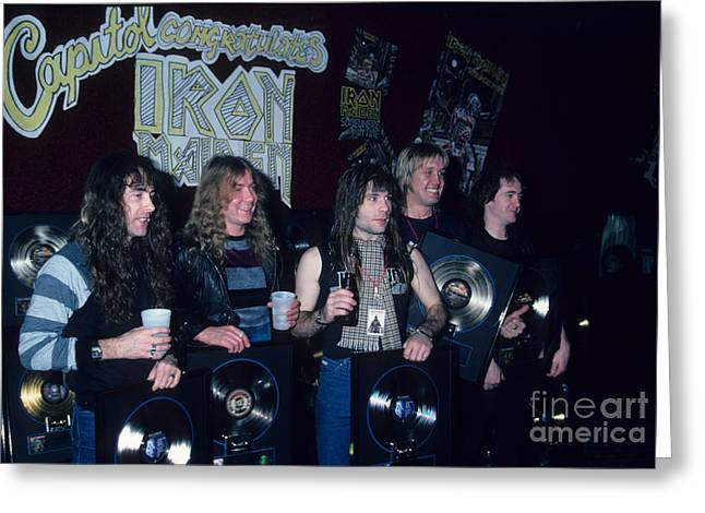 Iron Maiden Greeting Cards - Iron Maiden Gold Record Celebration Greeting Card by Rich Fuscia